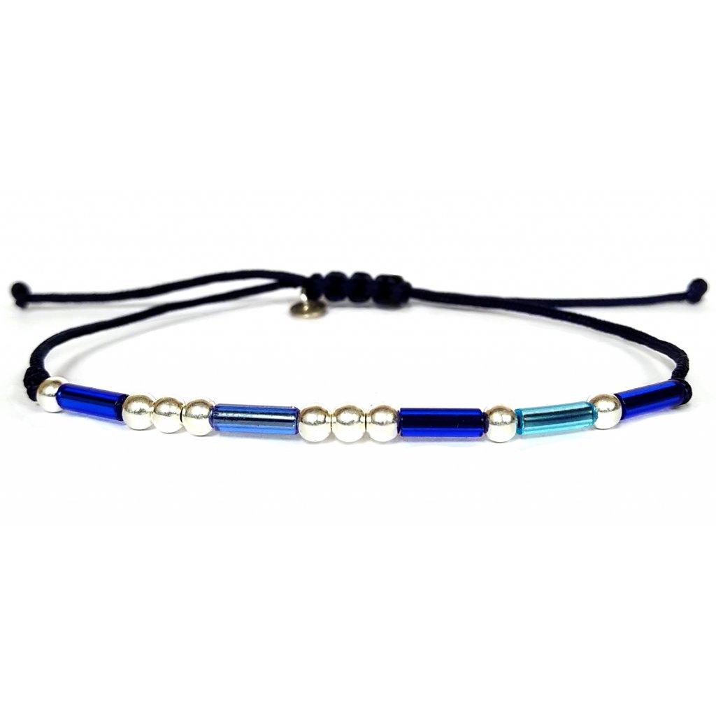 Náramek LOOA, Morseův kód láska, stříbro rokajl, modrá