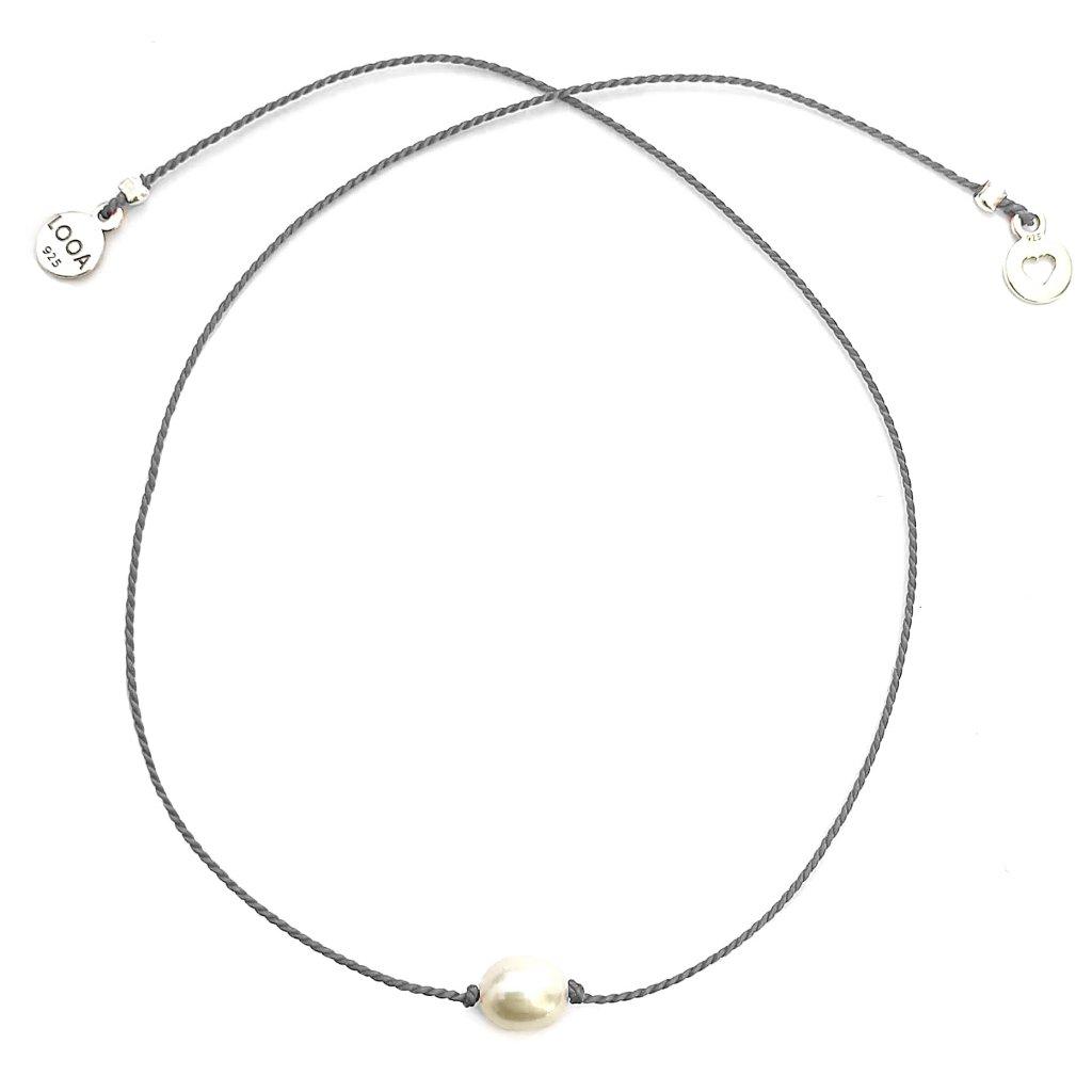 Náramek LOOA, tři přání, šedá, perla, stříbro
