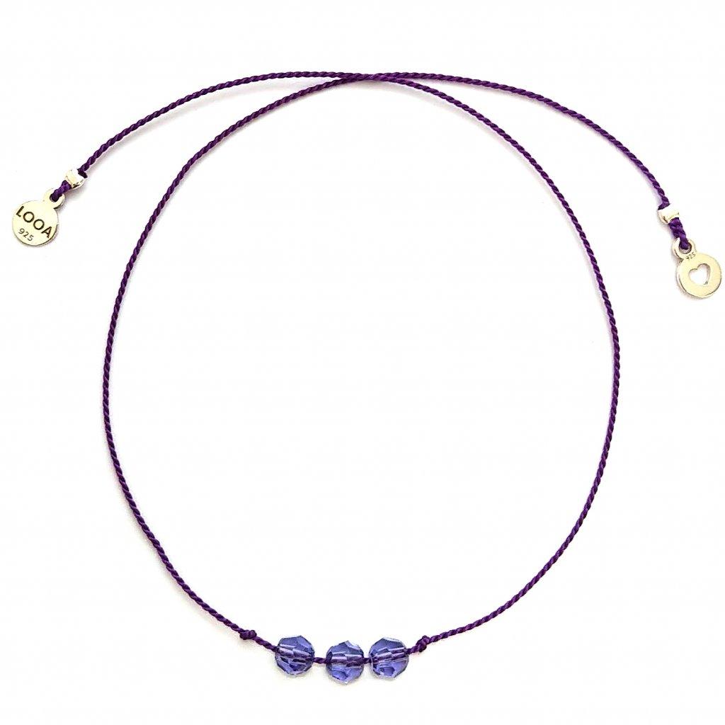 Náramek LOOA, tři přání, fialová swarovski stříbro