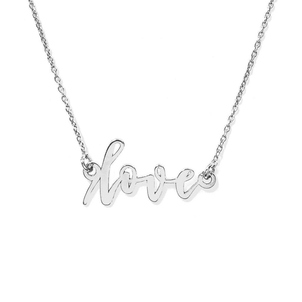 LOVE ručně psaný šperk, náhrdelník LOOA, stříbro