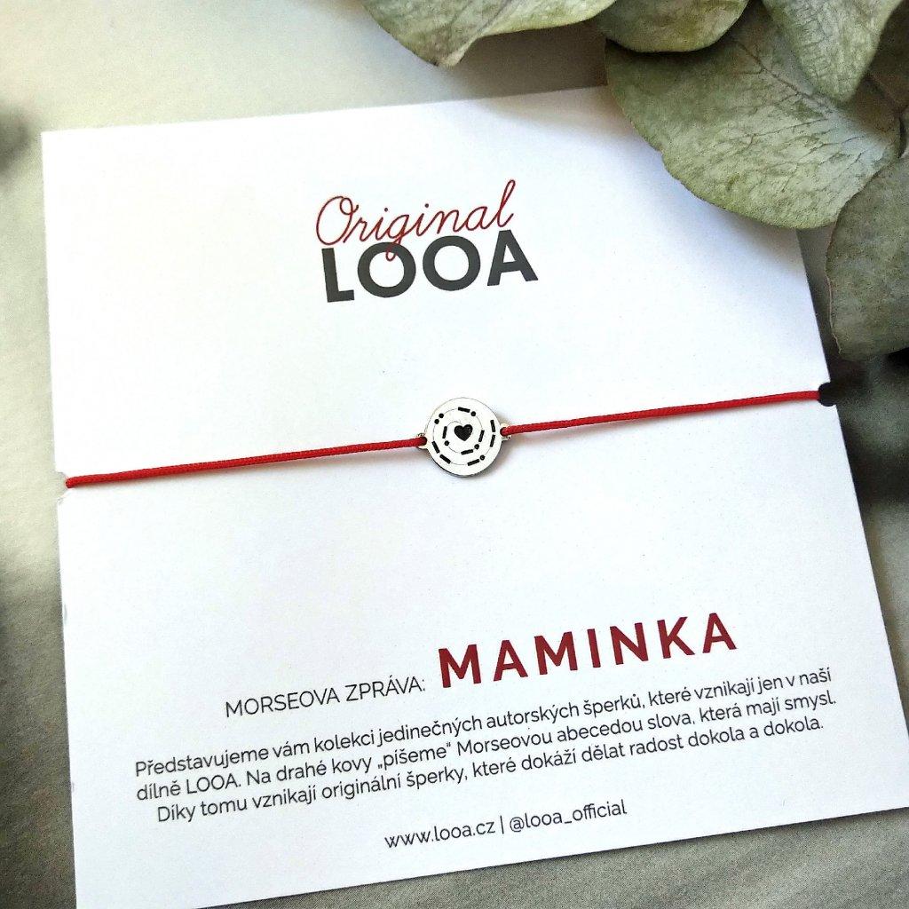 LOOA original, morseova zprava naramek stříbro maminka
