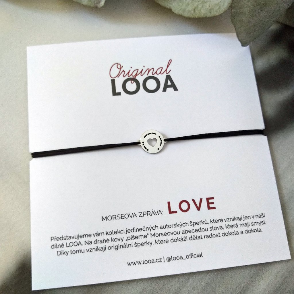 LOOA original, morseova zprava naramek stříbro love