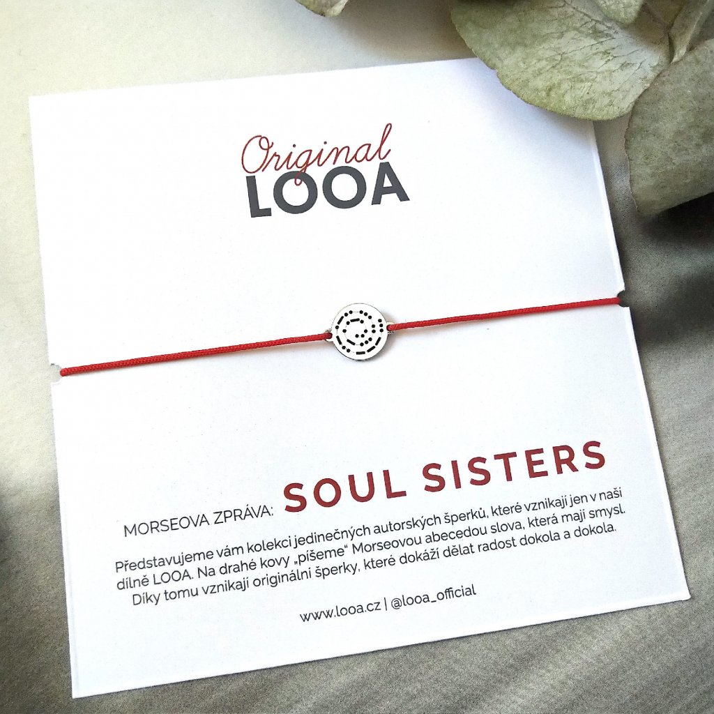 LOOA original, morseova zprava naramek stříbro soul sisters