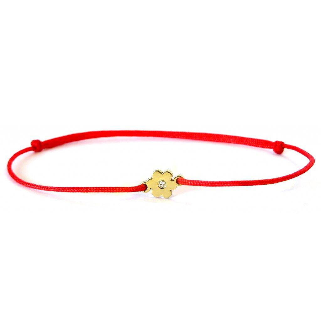 náramek LOOA, kytička, briliant žluté zlato