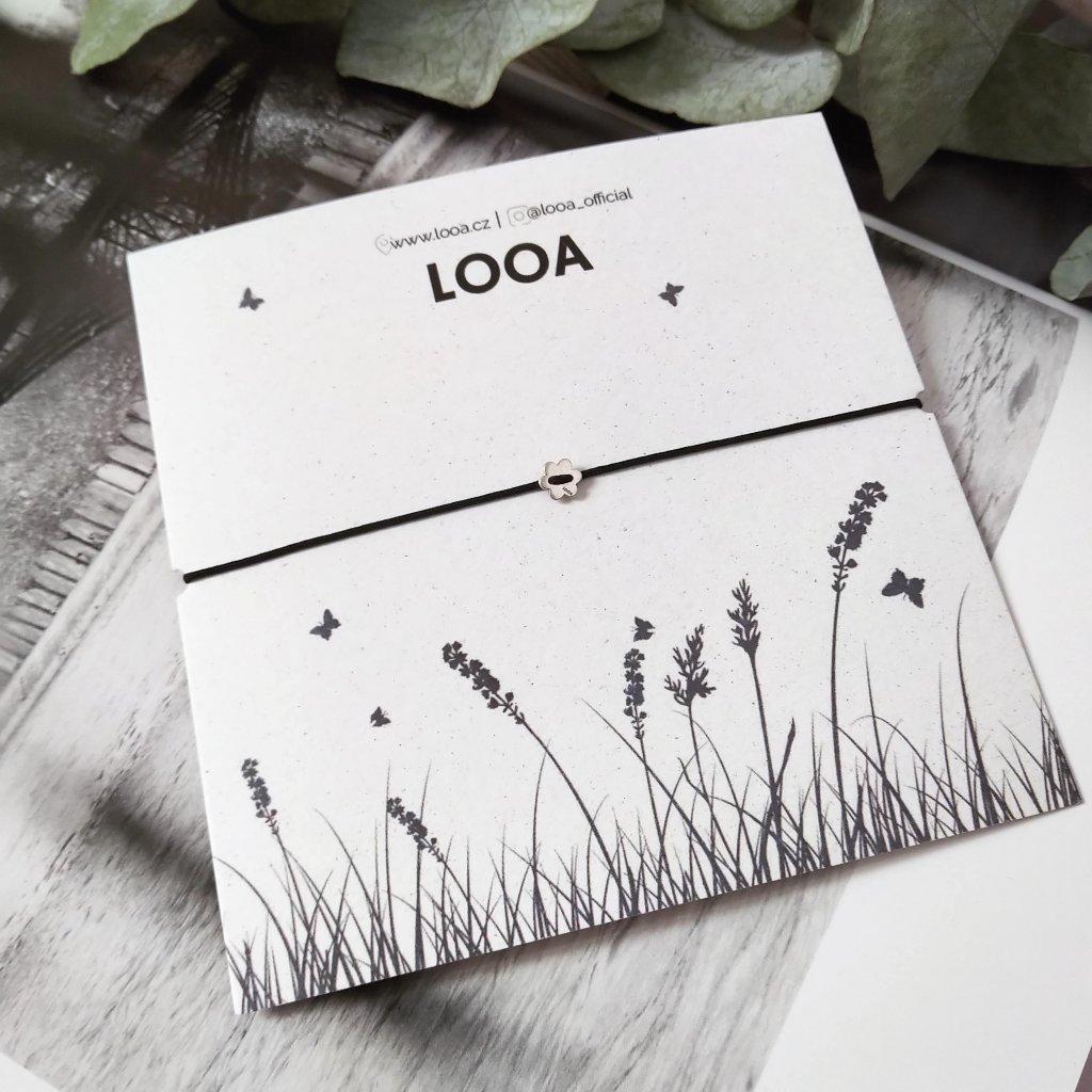náramek s kytičkou LOOA,stříbro
