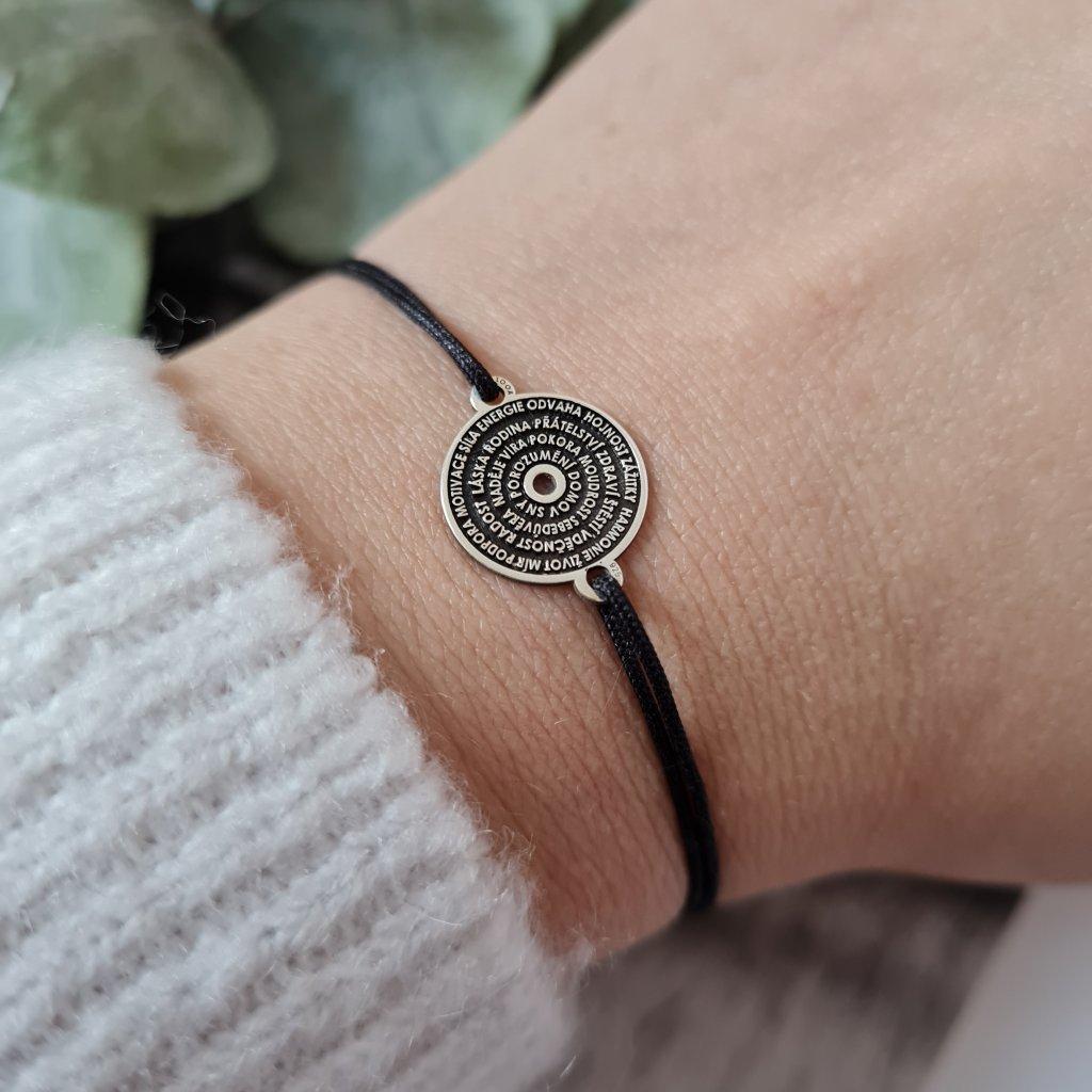 talisman šťastného života tmavý stříbro vyjímečný šperk náramek looa