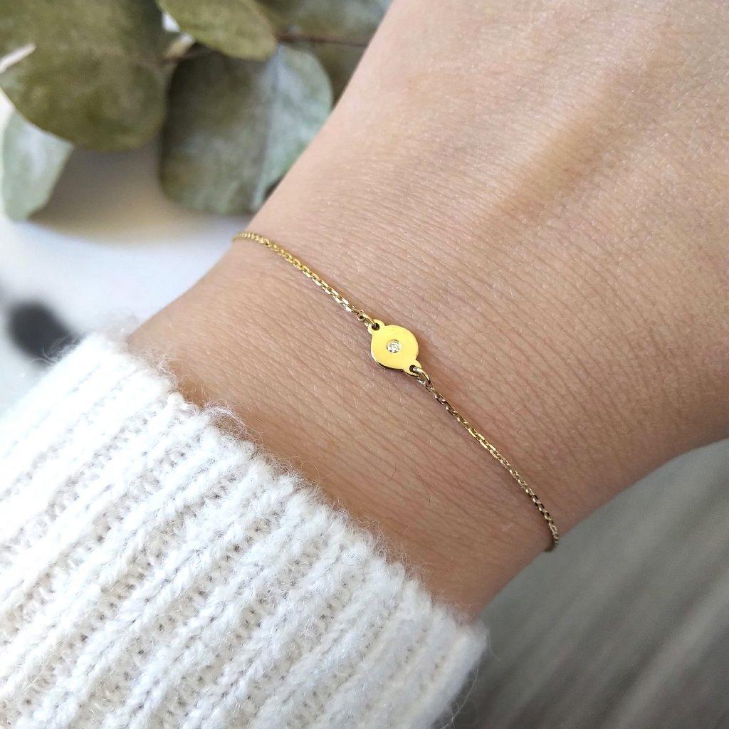 řetízkový náramek medailon žluté zlato looa