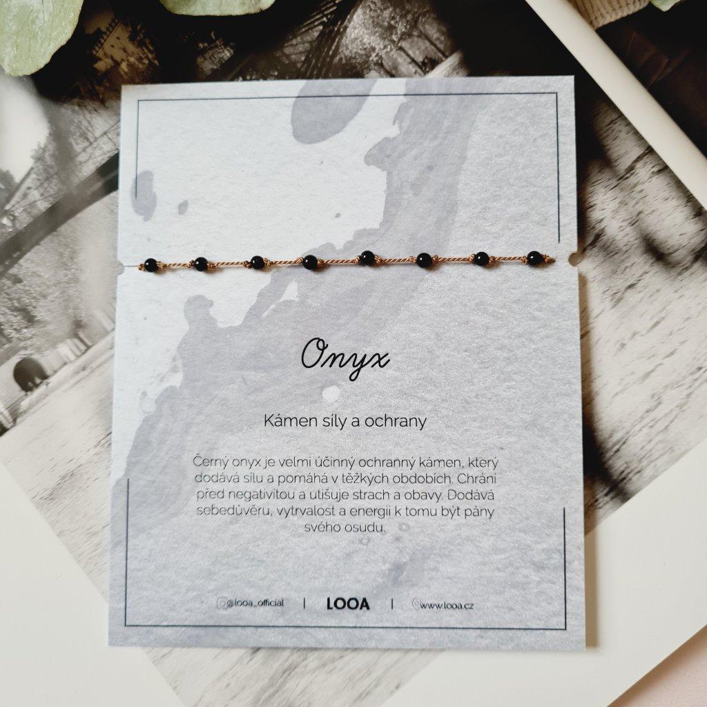 onyx hedvábí náramek looa stříbro