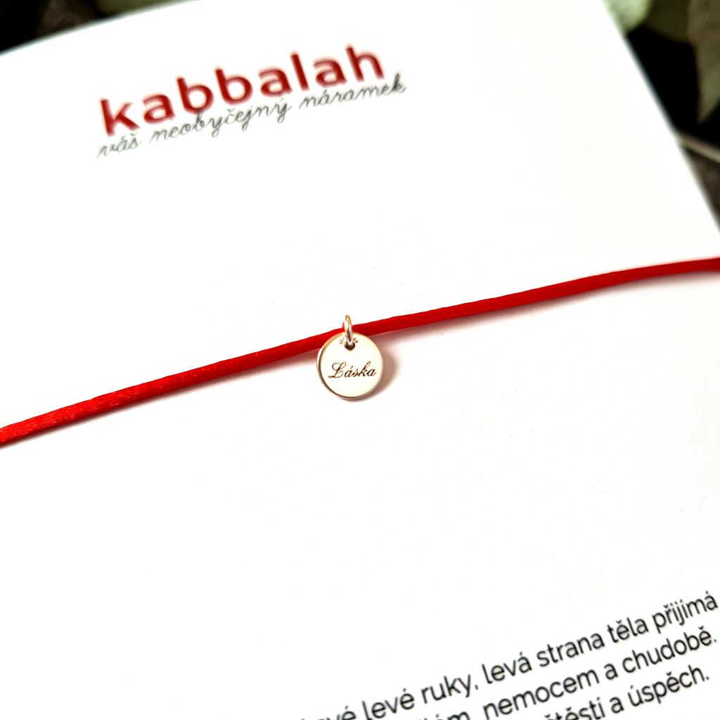 kabbalah medailon laska stříbro náramek looa červená šňůrka