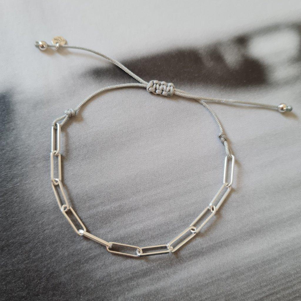 náramek looa řetízek šňůrka stříbro