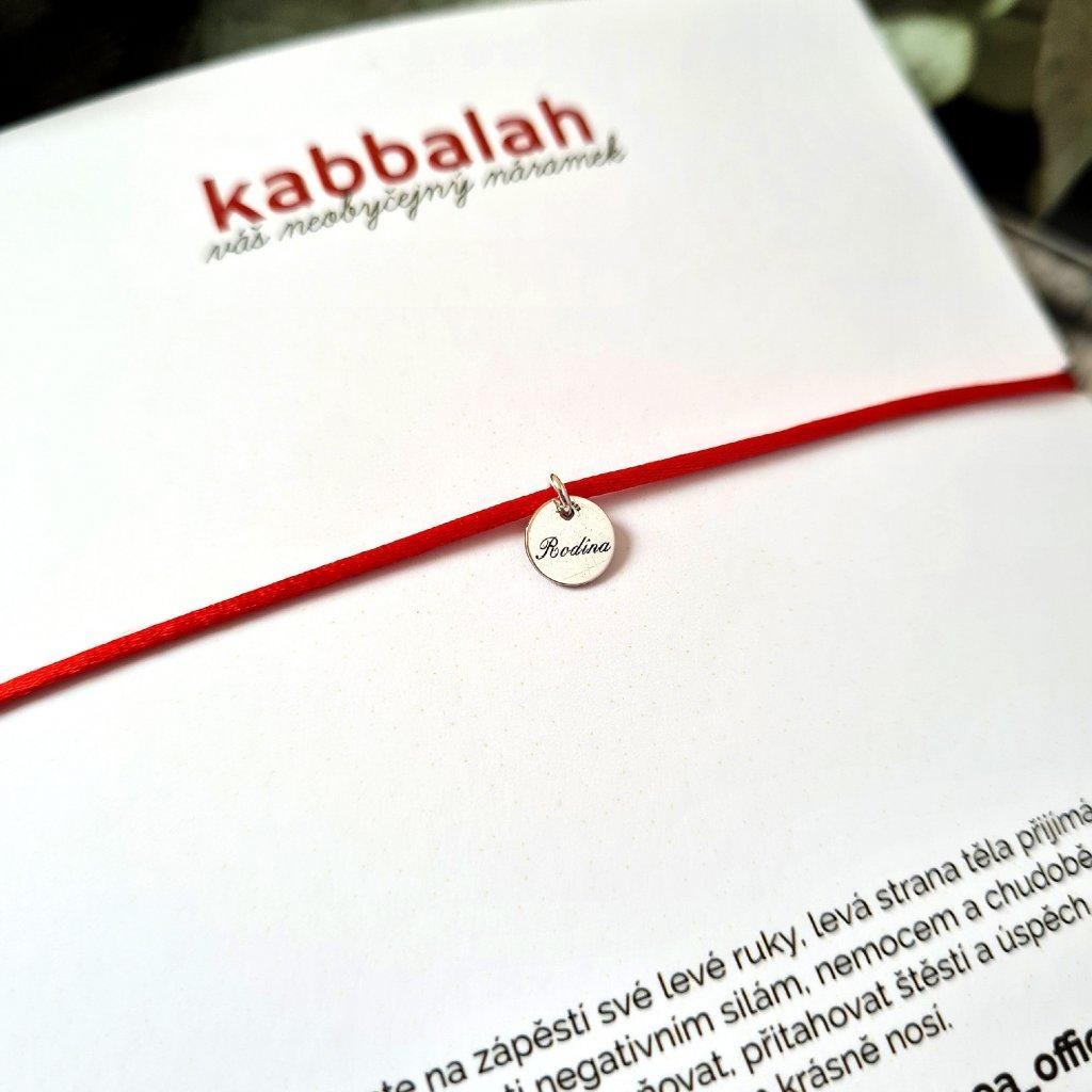 kabbalah medailon rodina stříbro náramek looa červená šňůrka