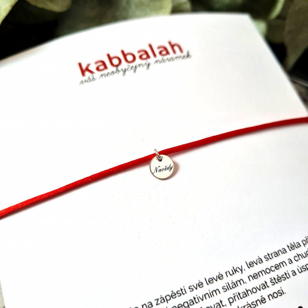 kabbalah medailon navždy stříbro náramek looa červená šňůrka