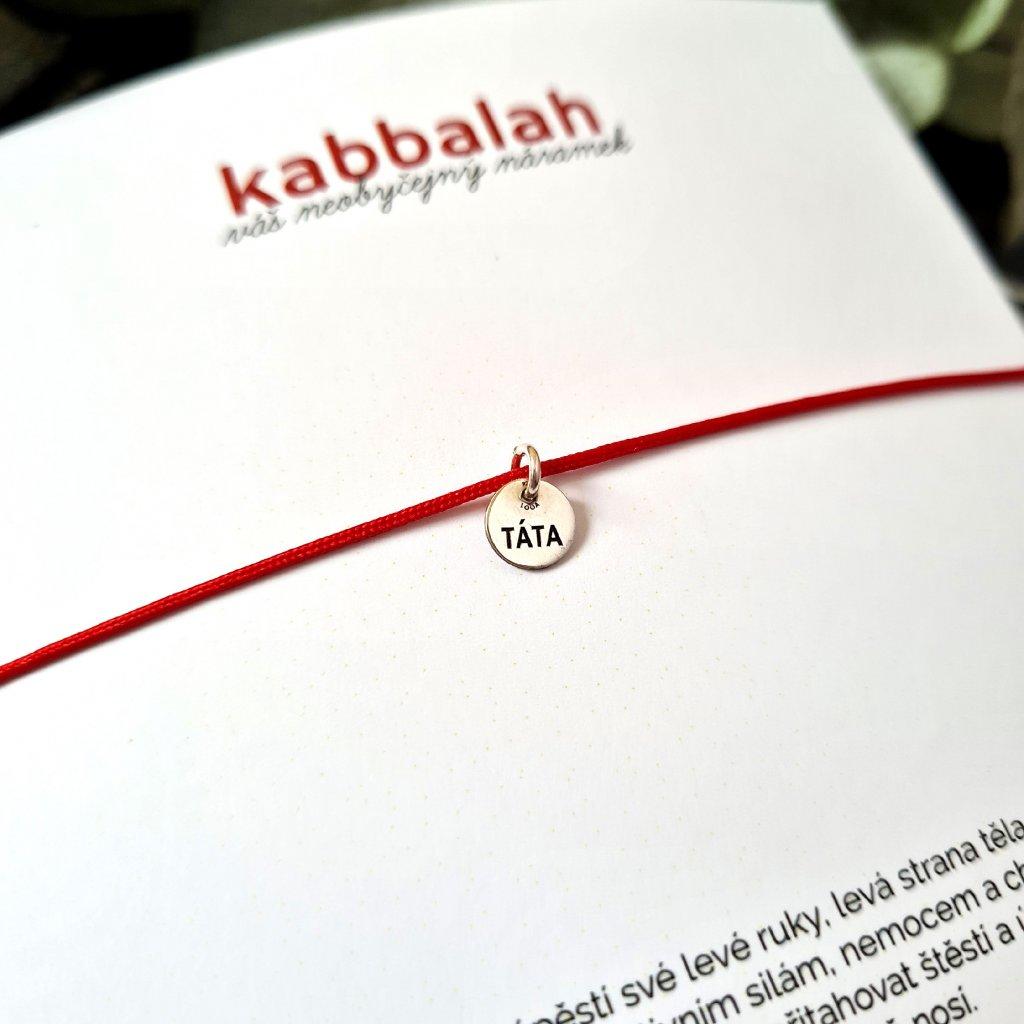 kabbalah medailon táta stříbro náramek looa červená šňůrka