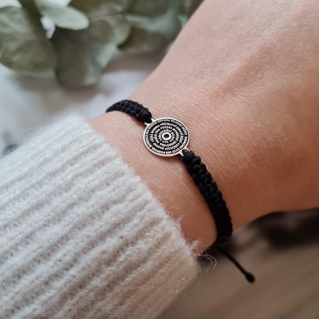 talisman šťastného života pletený stříbro náramek looa