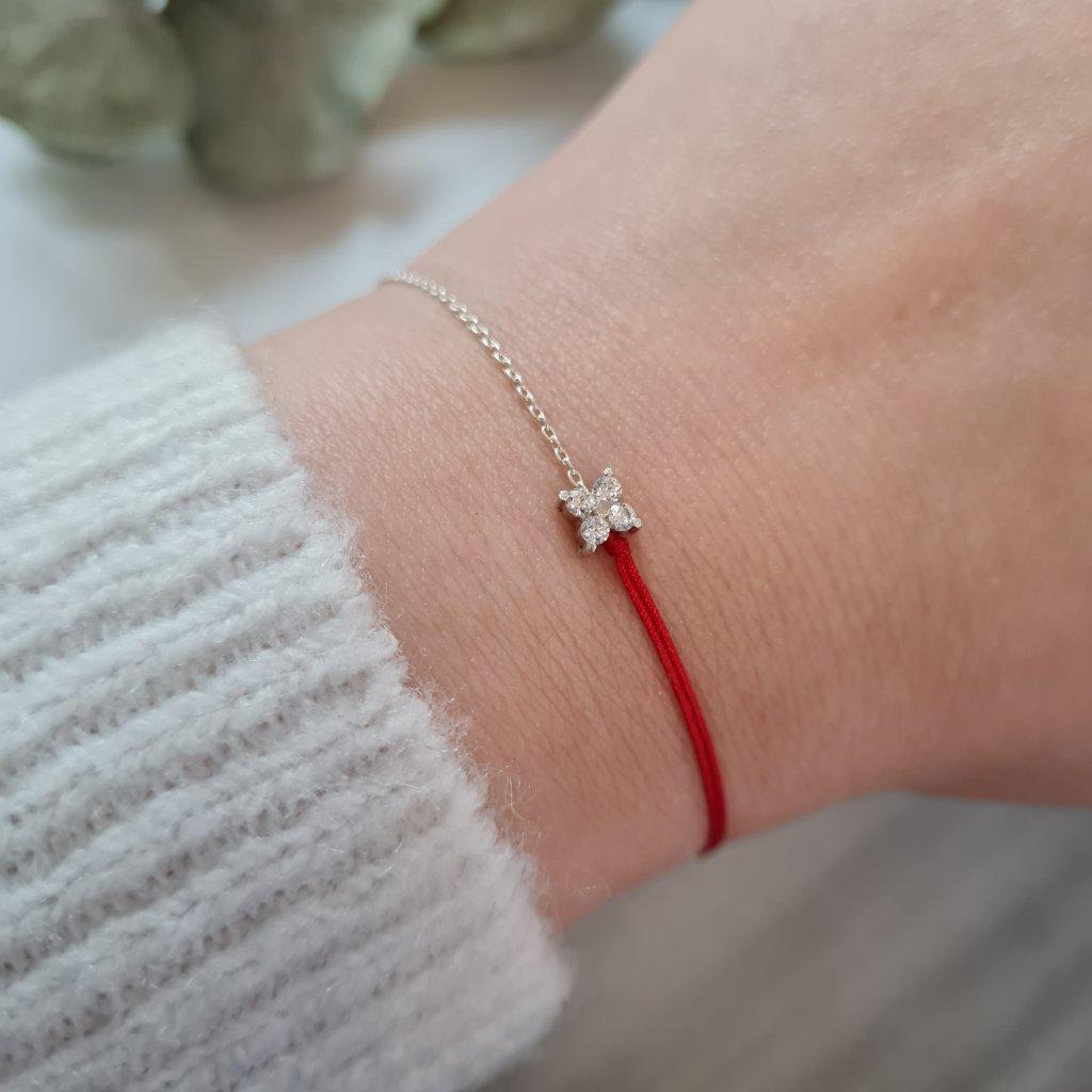 kytička se zirkony náramek looa stříbro šperky