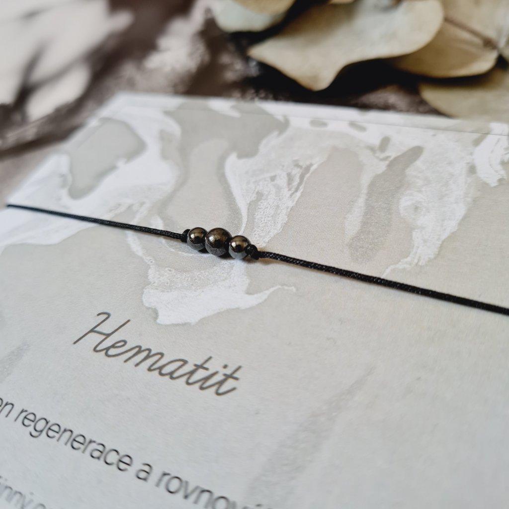 Hematit na šňůrce minerály looa stříbro šperky brno