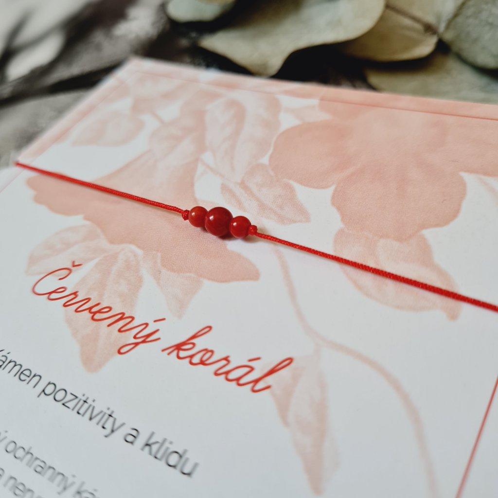 červený korál trio minerál náramek looa šperky brno