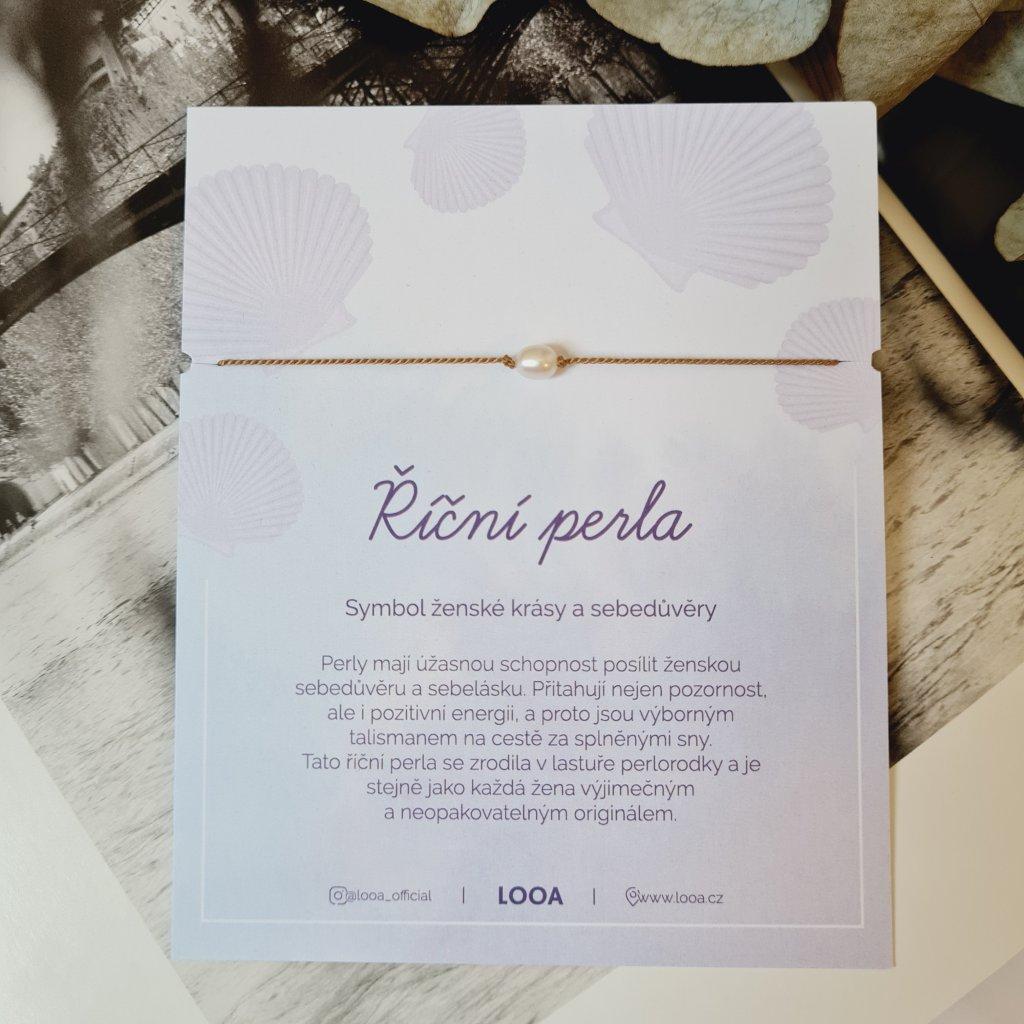 říční perla přírodní hedvábí stříbro náramek looa ruční prace brno