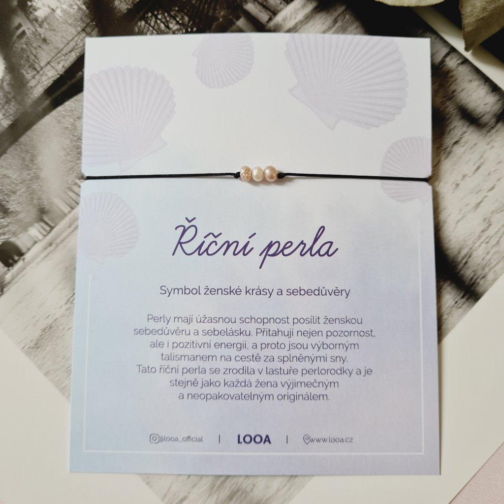 perlový náramek looa šperky brno stříbro černá