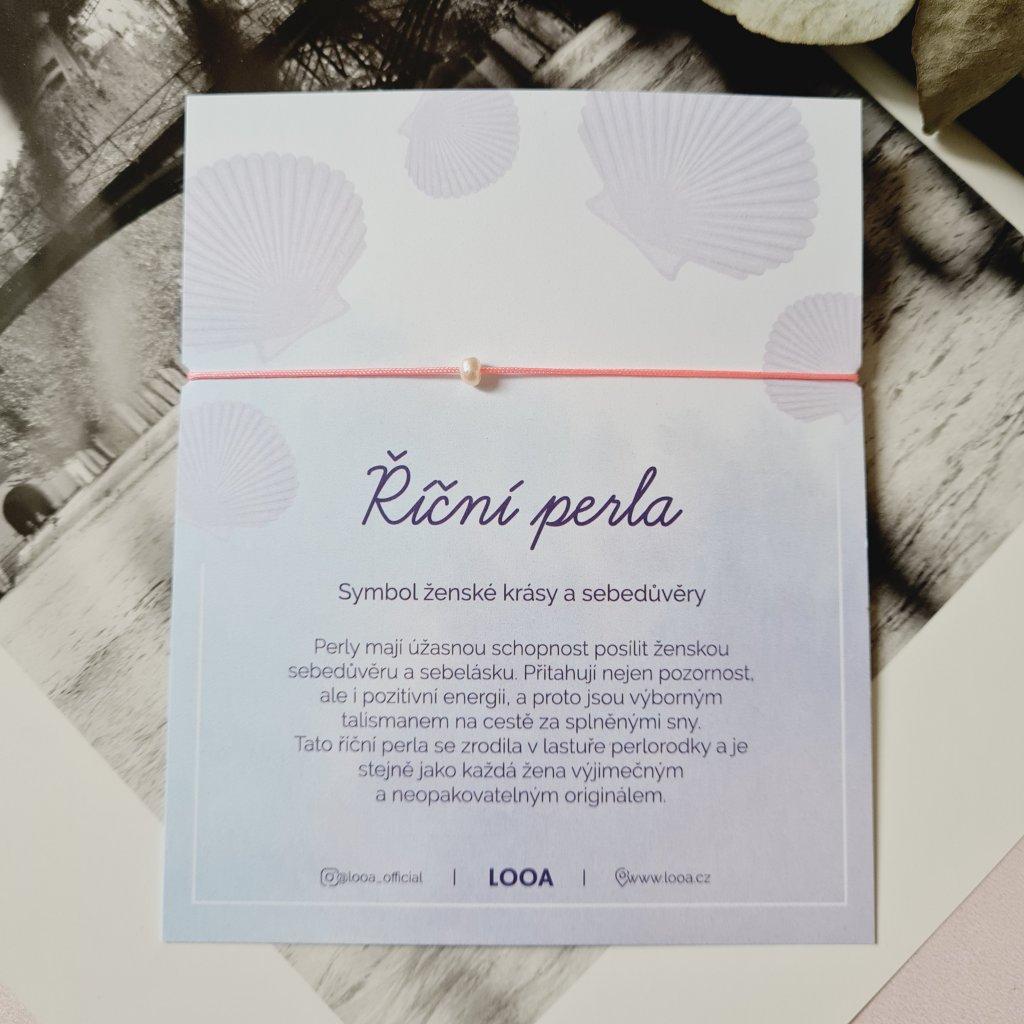 perlový náramek looa šperky brno stříbro růžová neon