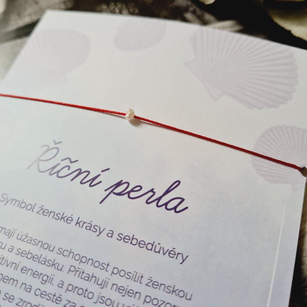 říční perla mini náramek looa šperky brno červená šňůrka stříbro