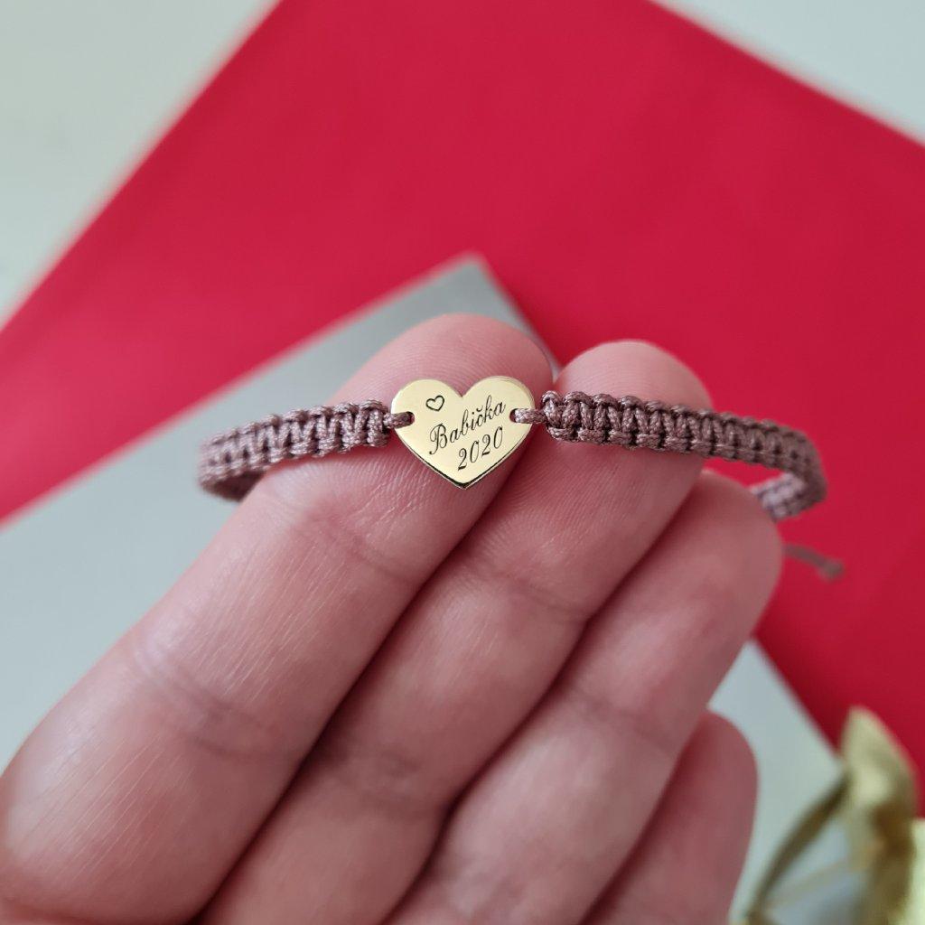 pletený náramek LOOA šperky s příběhem zlato stříbro srdce