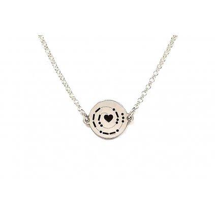 náhrdelník LOOA, morseův kód spolu, stříbro, řetízek, detail.