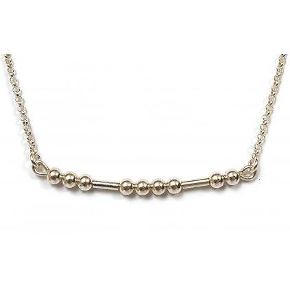 Morseův kód štěstí, stříbro, řetízek,detail, LOOA