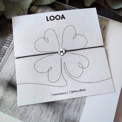 čtyřlístek, stříbro náramek LOOA