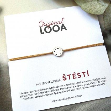 LOOA original, morseova zprava naramek stříbro,stěstí