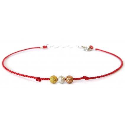 Tři přání, náramek štěstí, LOOA hedvábí, červená
