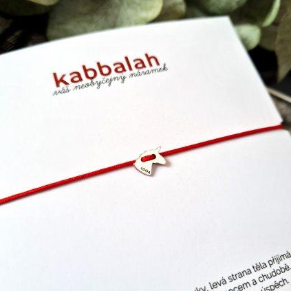 kabbalah jednorožec stříbro náramek looa červená šňůrka