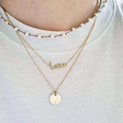 medailon s briliantem žluté a bílé zlato náhrdelník looa