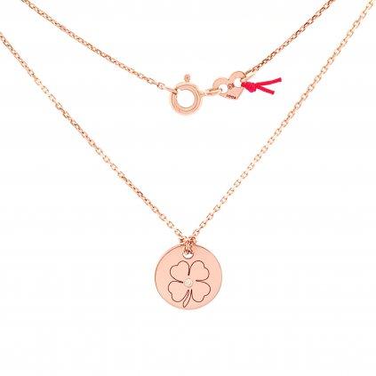 medailon čtyřlístek s diamantem šperky looa brno zlato stříbro