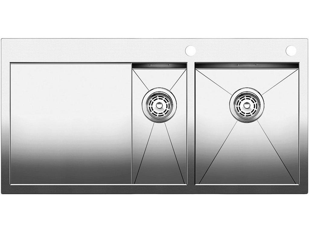 Nerezový dřez Blanco ZEROX 6 S-IF Nerez dřez vpravo s táhlem