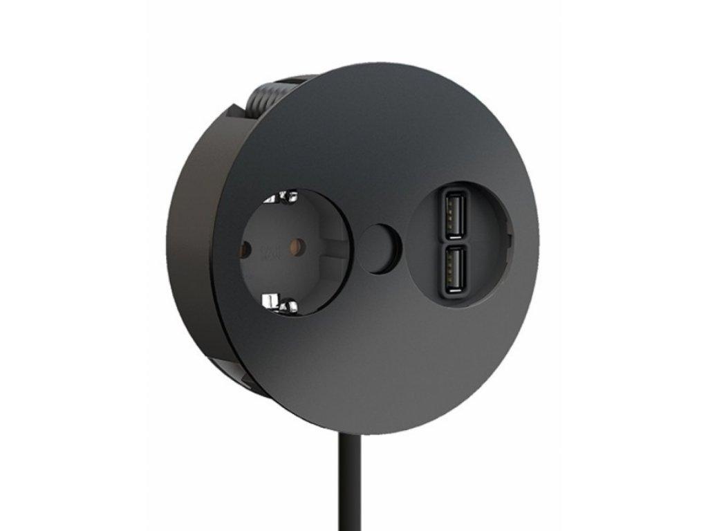 Elektro zásuvka Bachmann Twist 2x USB nabíječka 1x 230V matná černá 931.132