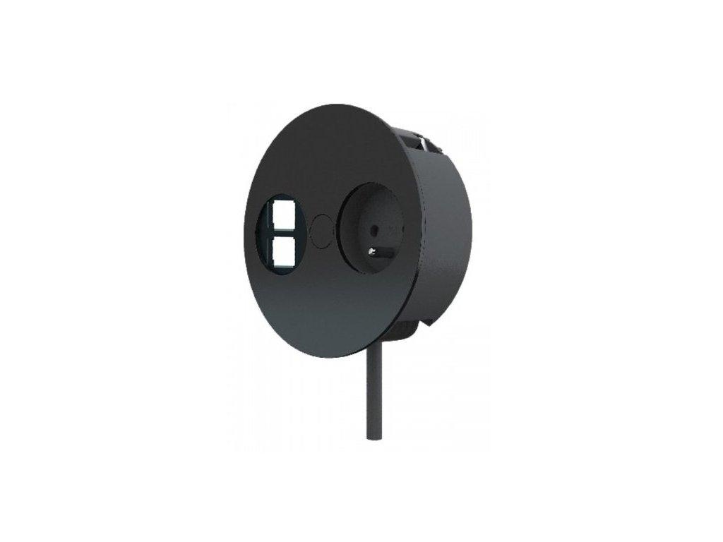 Elektro zásuvka Bachmann Twist OFFICE 2x uživ. modul Keystone 1x 230V matná černá 931.134