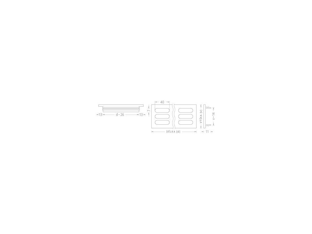 Větrací mřížka kovová 60x1000 lakovaná bílá