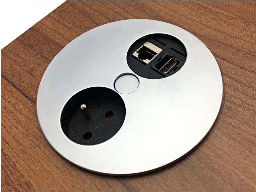 Elektro zásuvka Bachmann Twist OFFICE 1x HDMI 1x RJ45 1x 230V matný chrom