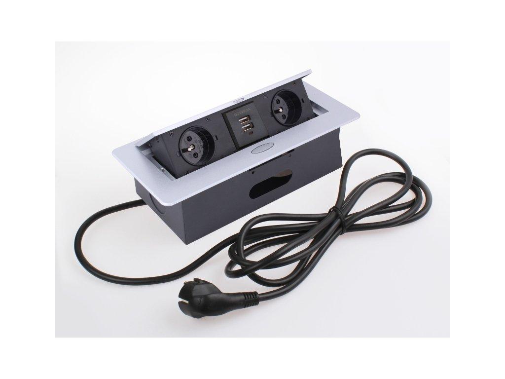 Vyklopna zasuvka box s USB nabijeckou hlinik