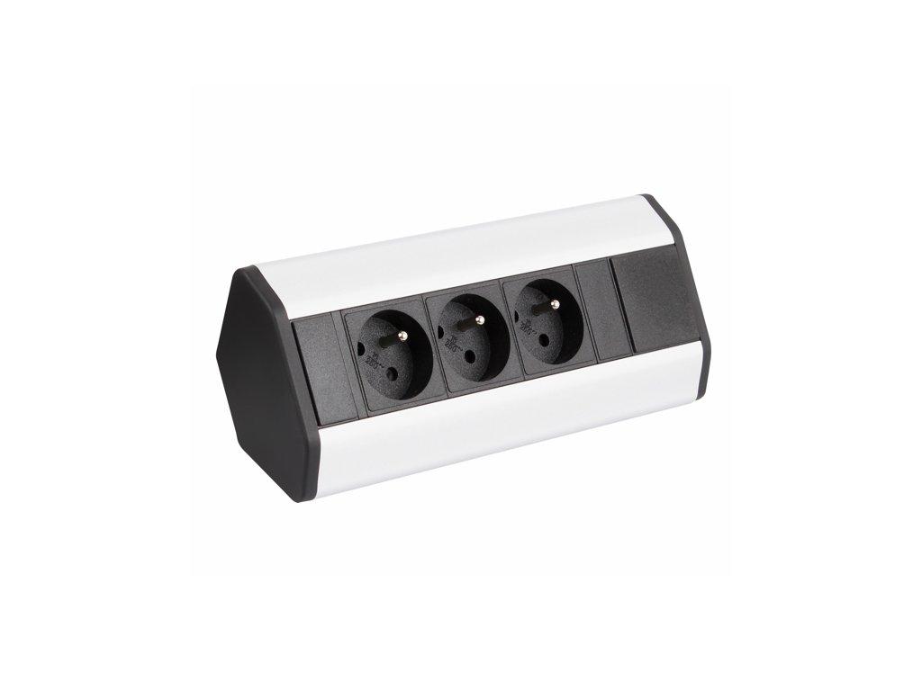 Zásuvková lišta rohová CORNER 3x 230V hliník/černá
