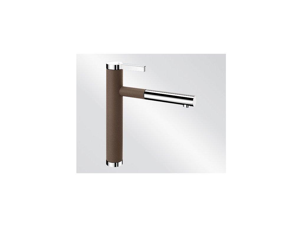 Kuchyňská baterie Blanco LINEE S Silgranit-look dvoubarevná kávová/chrom