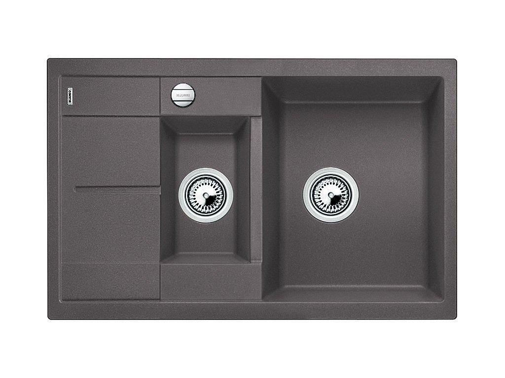 Granitový dřez Blanco METRA 6 S Compact Silgranit šedá skála oboustranné provedení s excentrem 518876