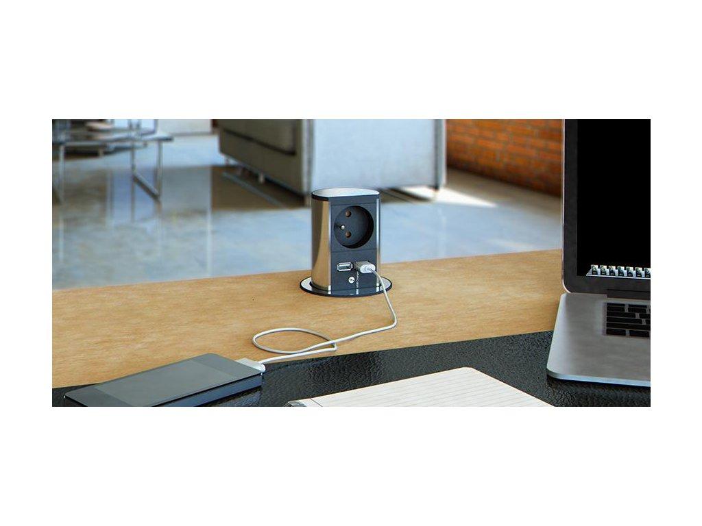 Elektro zásuvka Bachmann Elevator 2x USB nabíječka, 1x 230V nerez 928.020