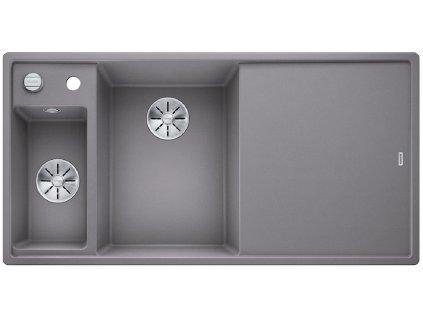 Blanco AXIA III 6 S InFino Silgranit aluminium dřev.kráj.deska dřez vlevo s exc.