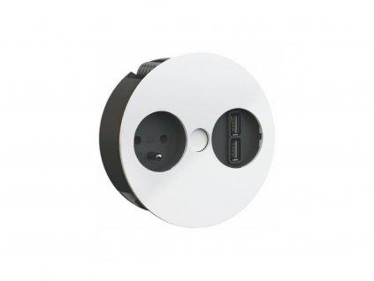 Elektro zásuvka Bachmann Twist 2x USB nabíječka 1x 230V matná bílá 931.232