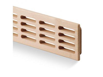 Větrací mřížka dřevěná 80x550 jasan, otvory v řadě