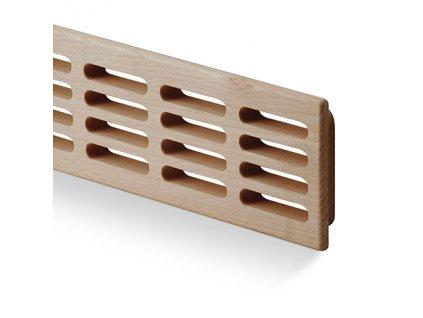 Větrací mřížka dřevěná 80x550 dub, otvory v řadě