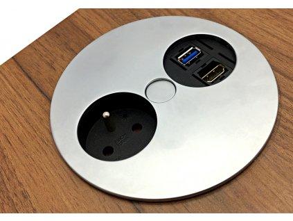Elektro zásuvka Bachmann Twist OFFICE 1x USB 1x HDMI 1x 230V matný chrom