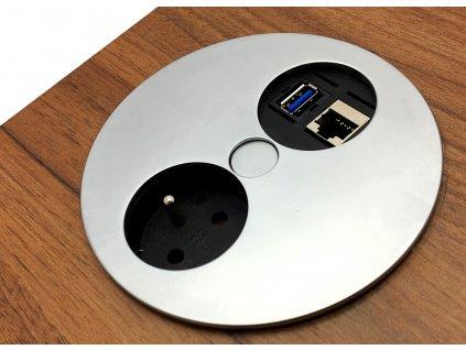 Elektro zásuvka Bachmann Twist OFFICE 1x USB 1x RJ45 1x 230V matný chrom